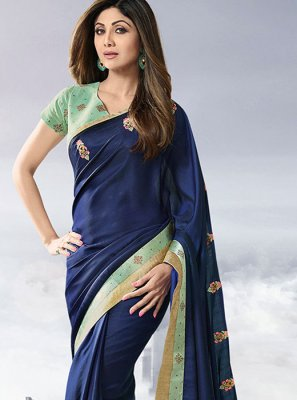 Blue Lace Satin Designer Traditional Saree