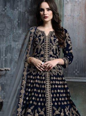 Blue Lace Velvet Lehenga Choli