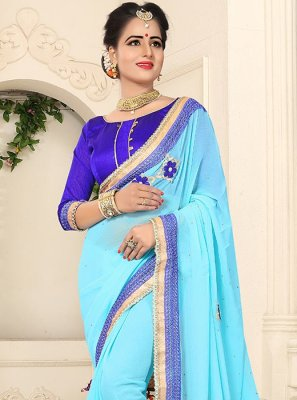 Blue Lace Work Faux Georgette Classic Saree