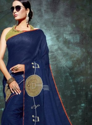 Blue Linen Abstract Print Printed Saree