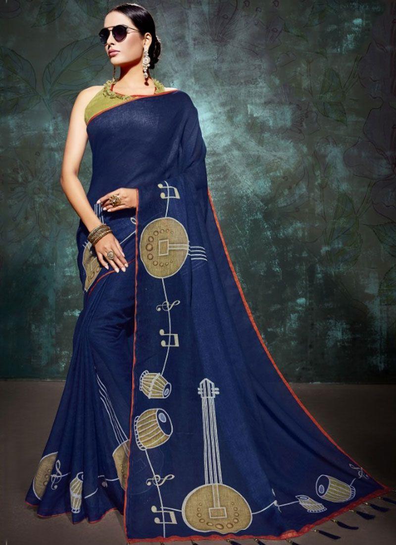 Blue Linen Abstract Print Printed Saree