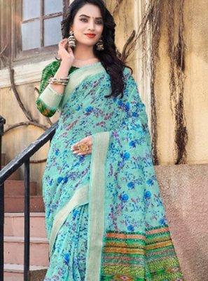 Blue Linen Classic Designer Saree