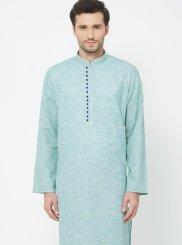 Blue Linen Plain Kurta Pyjama