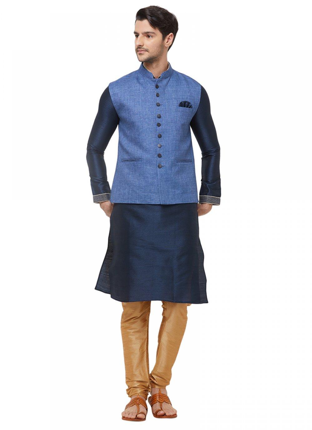 Blue Mehndi Linen Nehru Jackets
