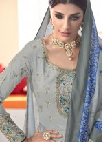 Blue And Grey Muslin Readymade Suit