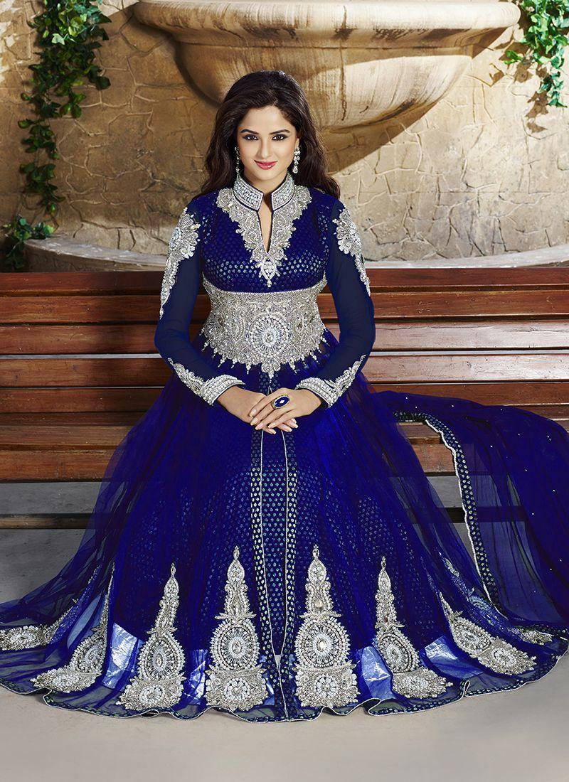 Blue Net Anarkali Salwar Kameez