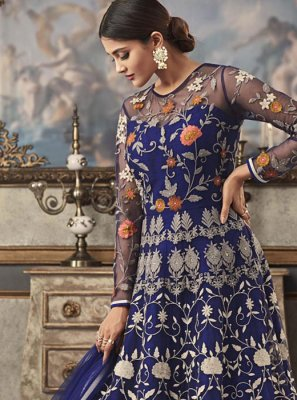 Blue Net Floor Length Anarkali Suit