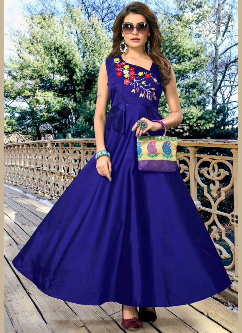 Blue Party Art Silk Readymade Gown