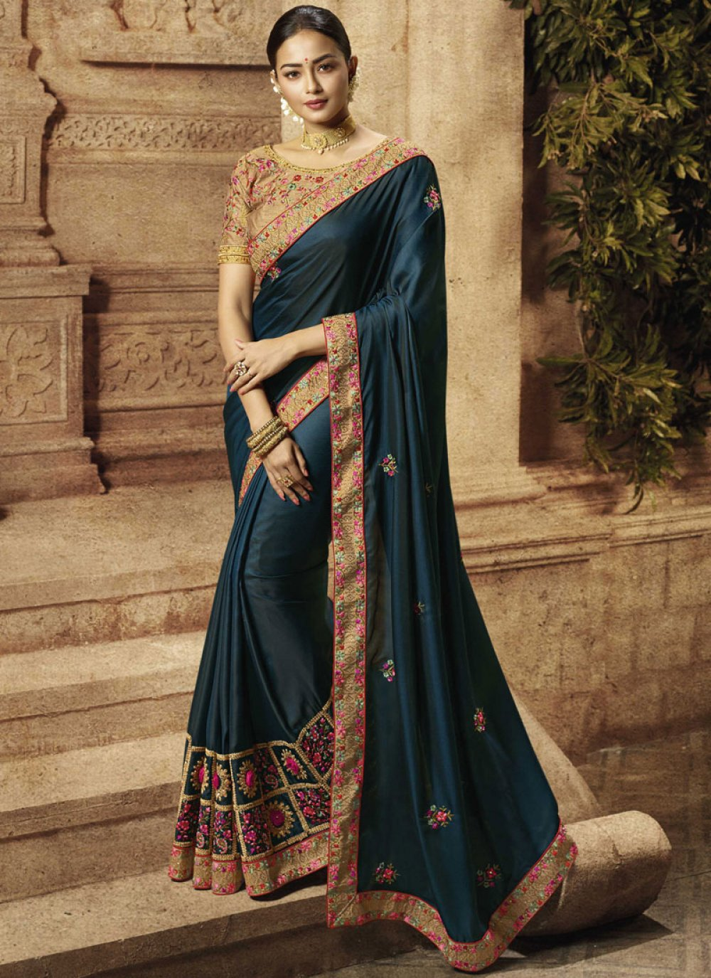 Blue Party Art Silk Silk Saree
