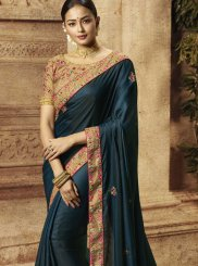 Blue Party Art Silk Silk Saree