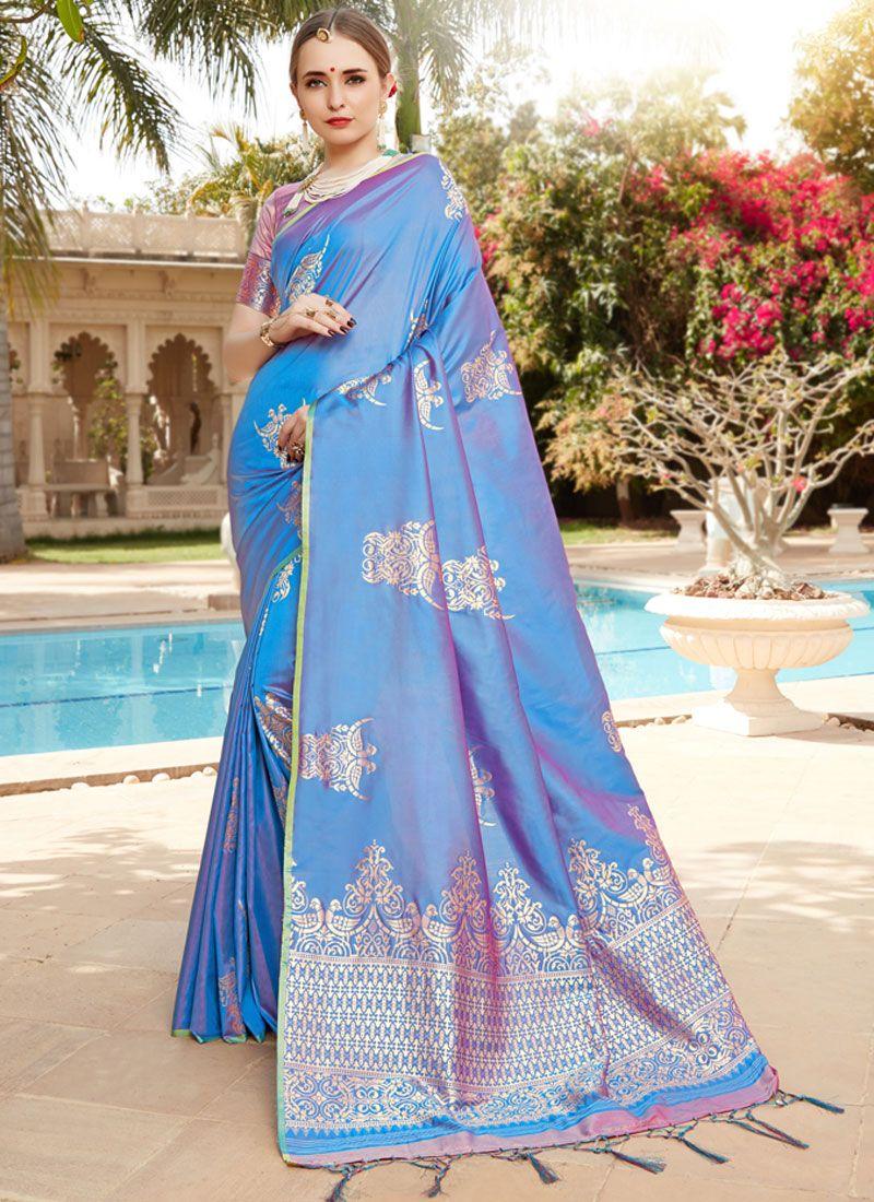 Blue Party Art Silk Traditional Designer Saree