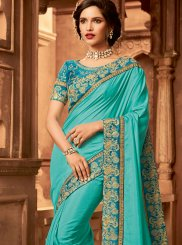 Blue Patch Border Fancy Fabric Traditional Designer Saree