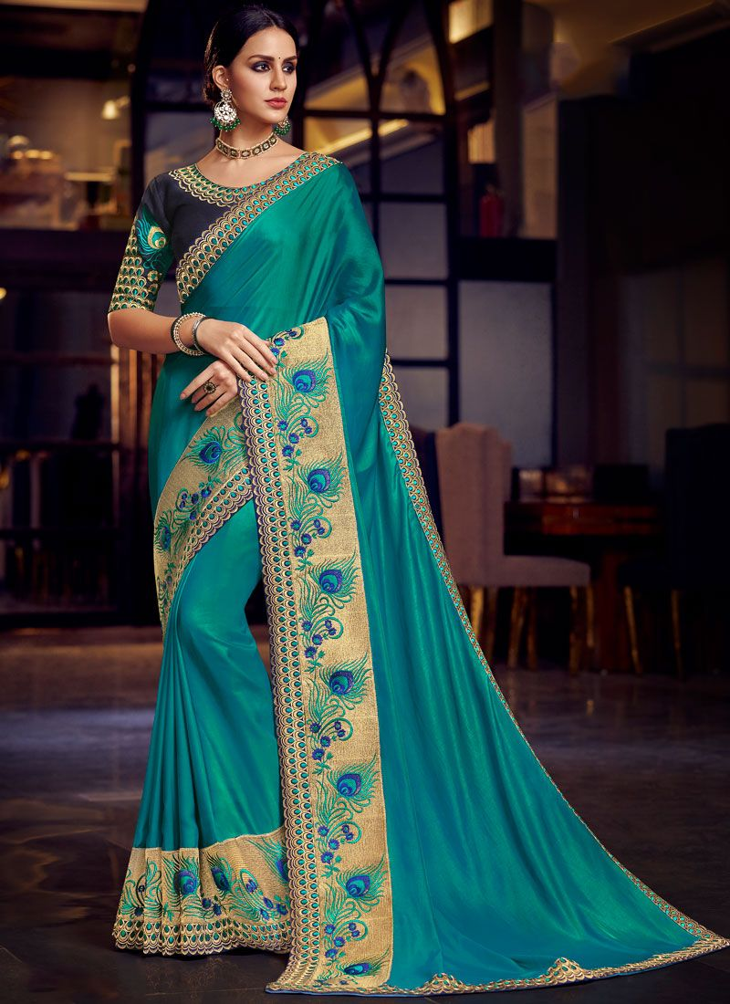 Blue Patch Border Festival Traditional Saree