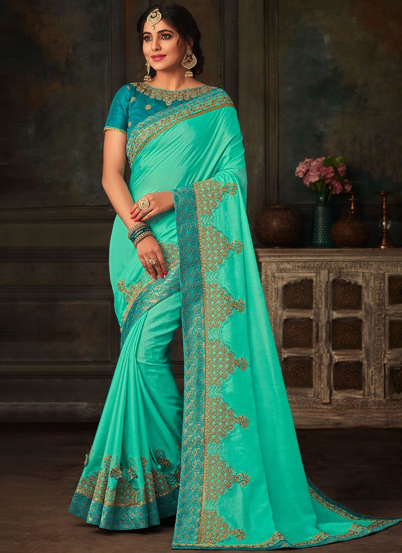Blue Patch Border Traditional Saree