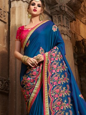 Blue Patch Work Work Art Silk Designer Traditional Saree