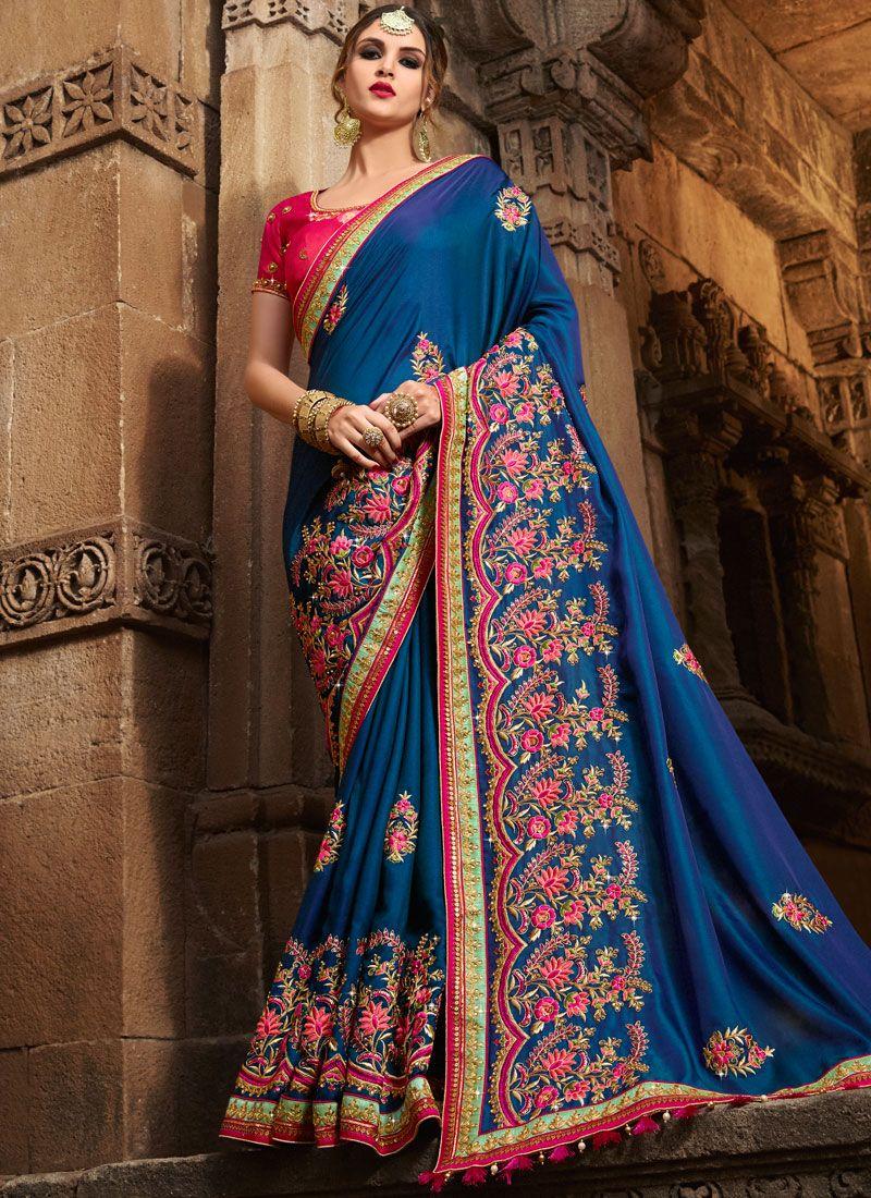 Blue Patch Work Work Art Silk Designer Traditional Saree