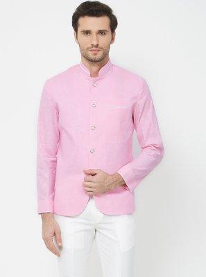 Blue Plain Linen Coats & Blazers