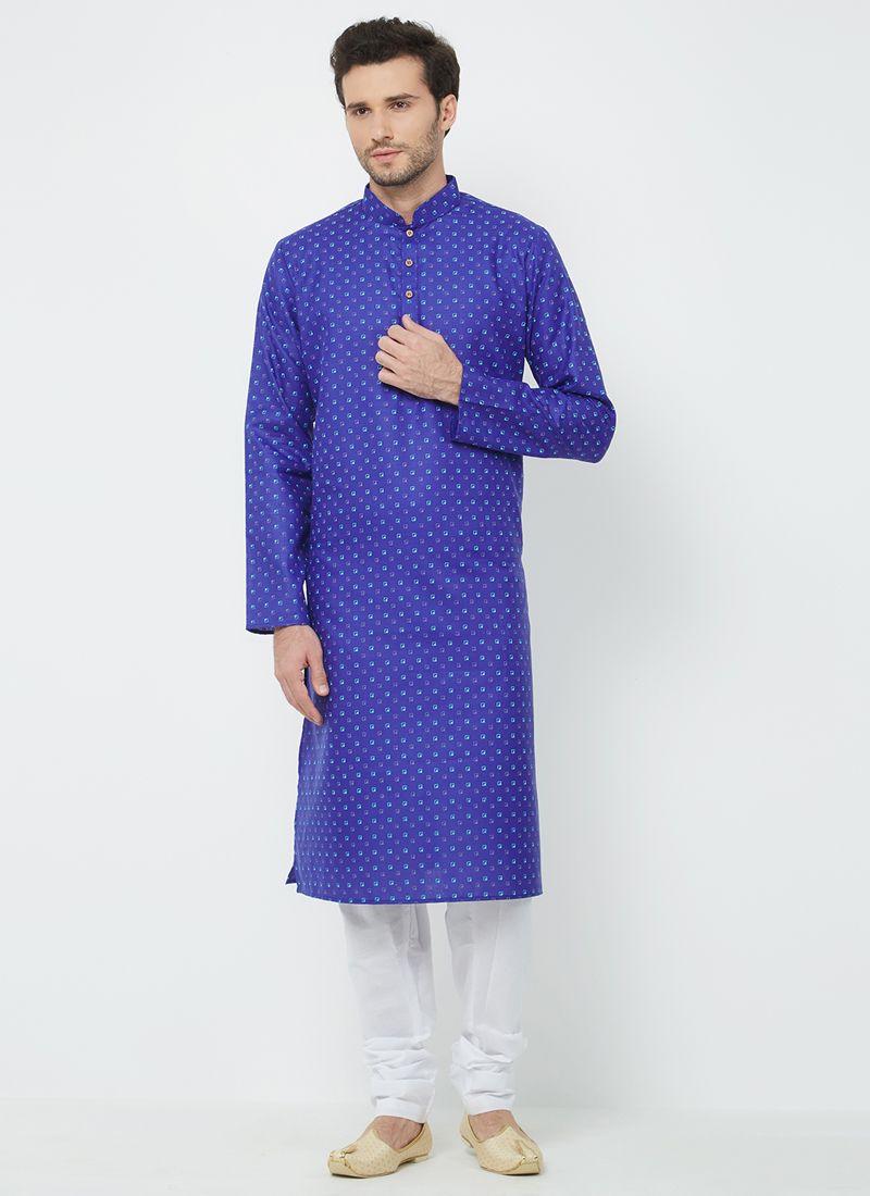 Blue Plain Linen Kurta Pyjama