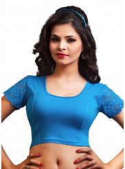 Blue Plain Lycra Designer Blouse