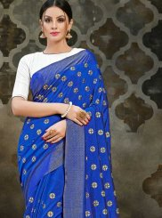 Blue Print Art Silk Designer Traditional Saree