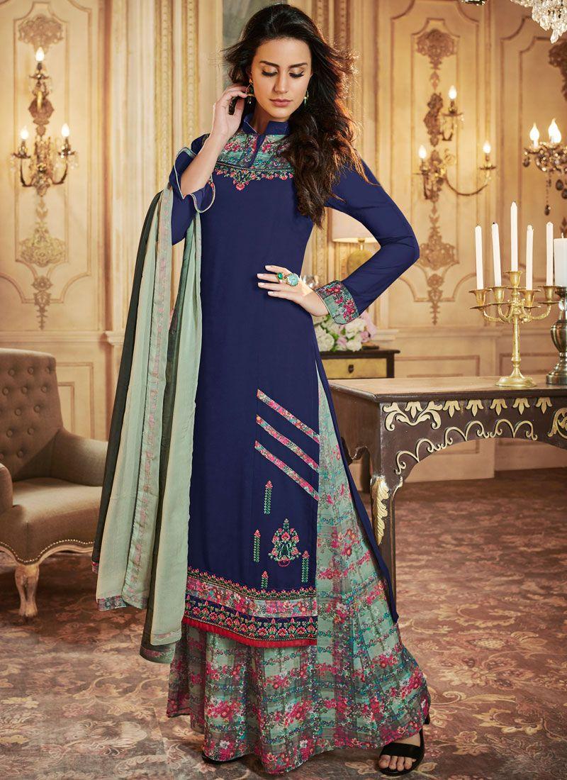 Blue Print Casual Designer Palazzo Suit