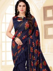 Blue Print Ceremonial Trendy Saree
