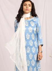 Blue Print Cotton Readymade Suit
