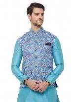 Blue Printed Art Silk Nehru Jackets