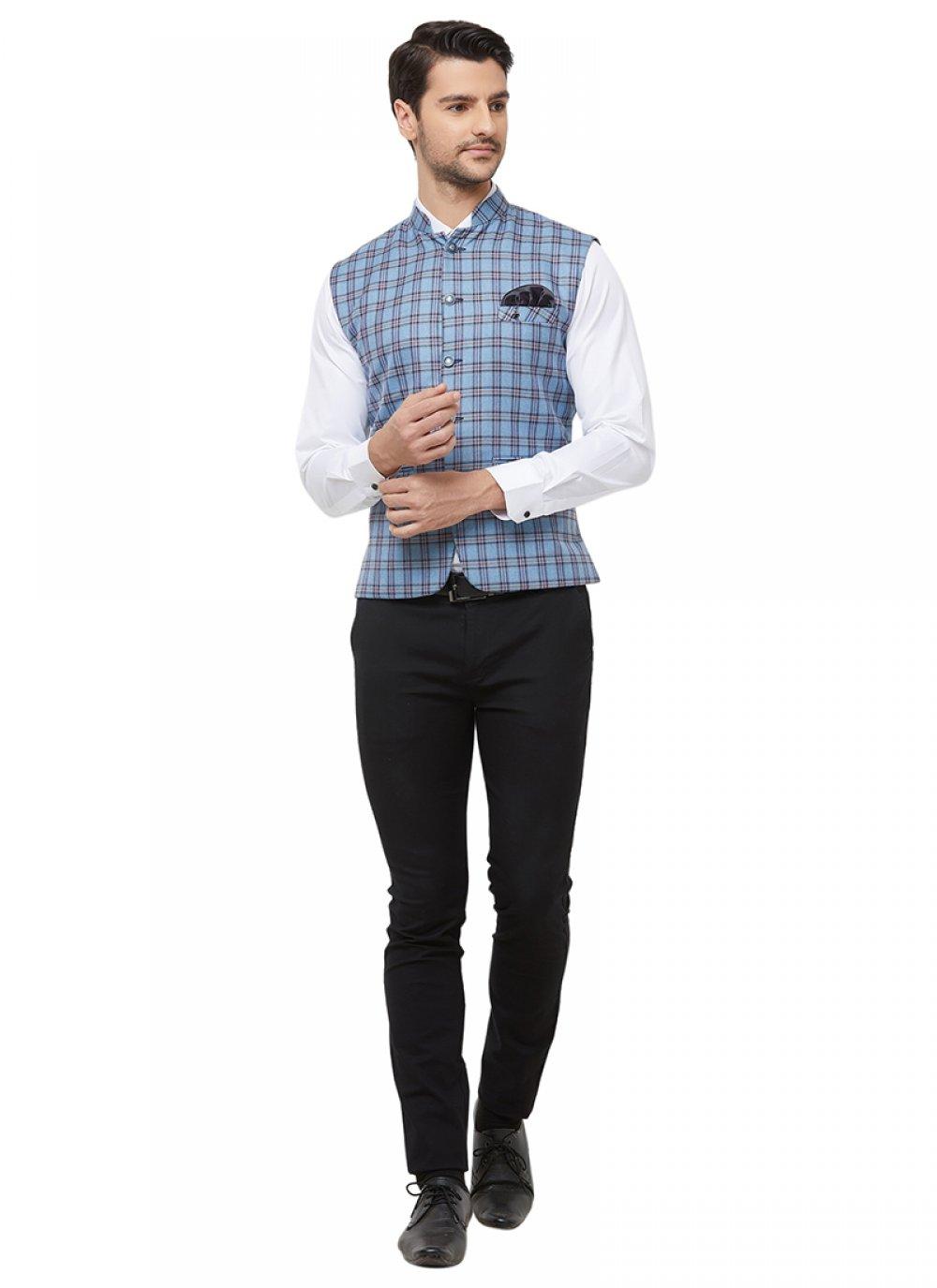 Blue Printed Blended Cotton Nehru Jackets