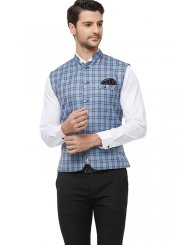 Blue Printed Blended Cotton Nehru Jackets