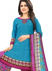Blue Printed Casual Punjabi Suit