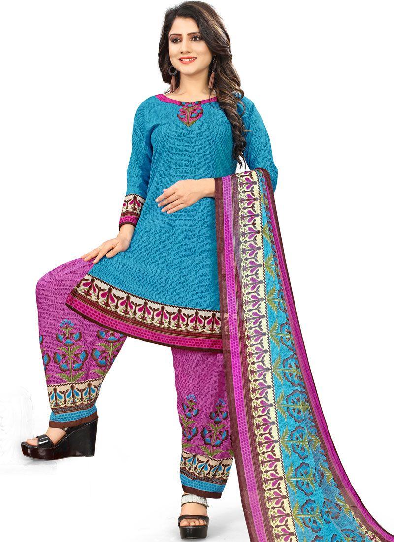 Blue Printed Casual Punjabi Suit