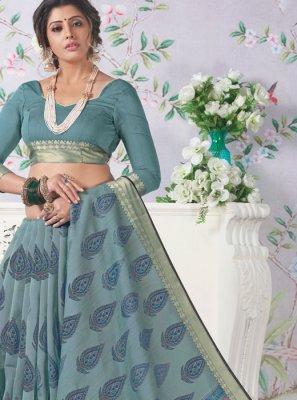 Blue Printed Casual Saree