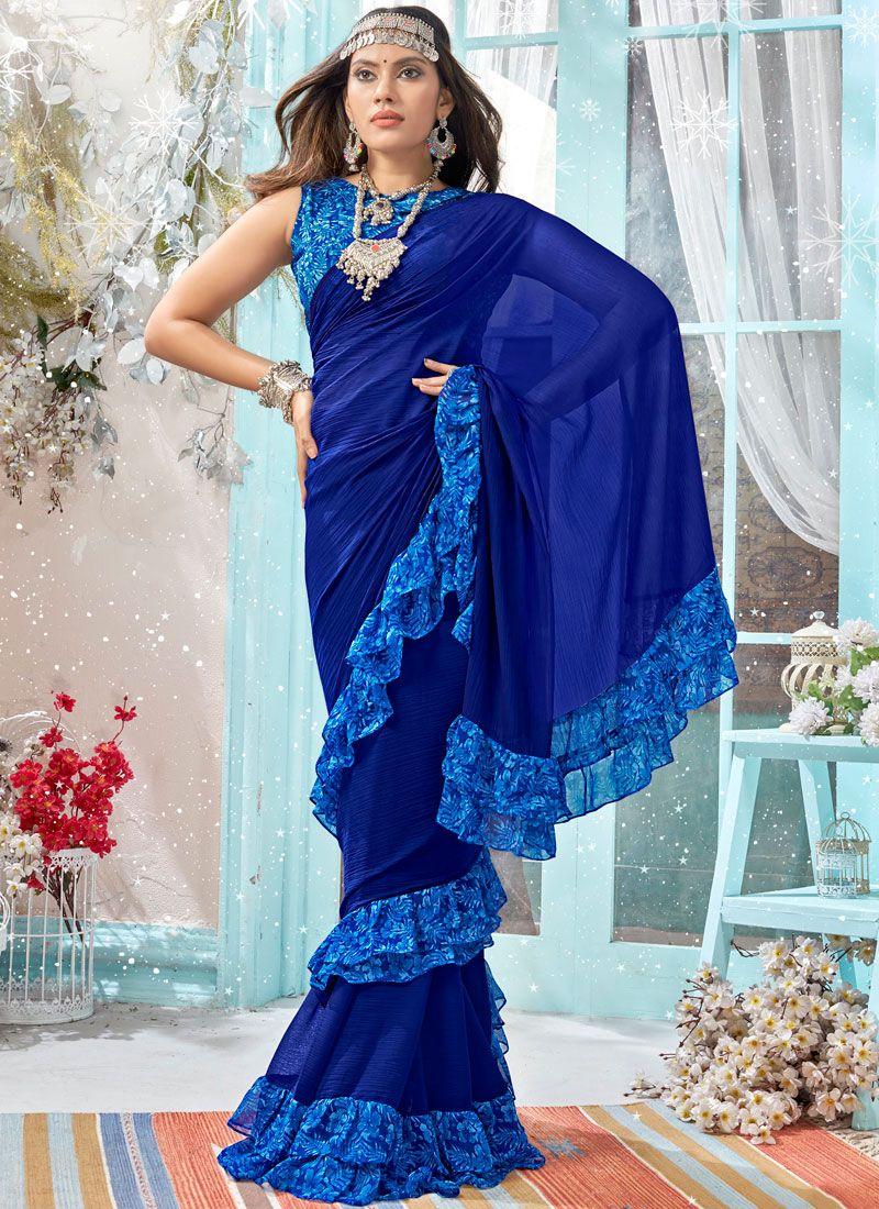 Blue Printed Ceremonial Casual Saree