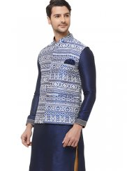 Blue Printed Nehru Jackets