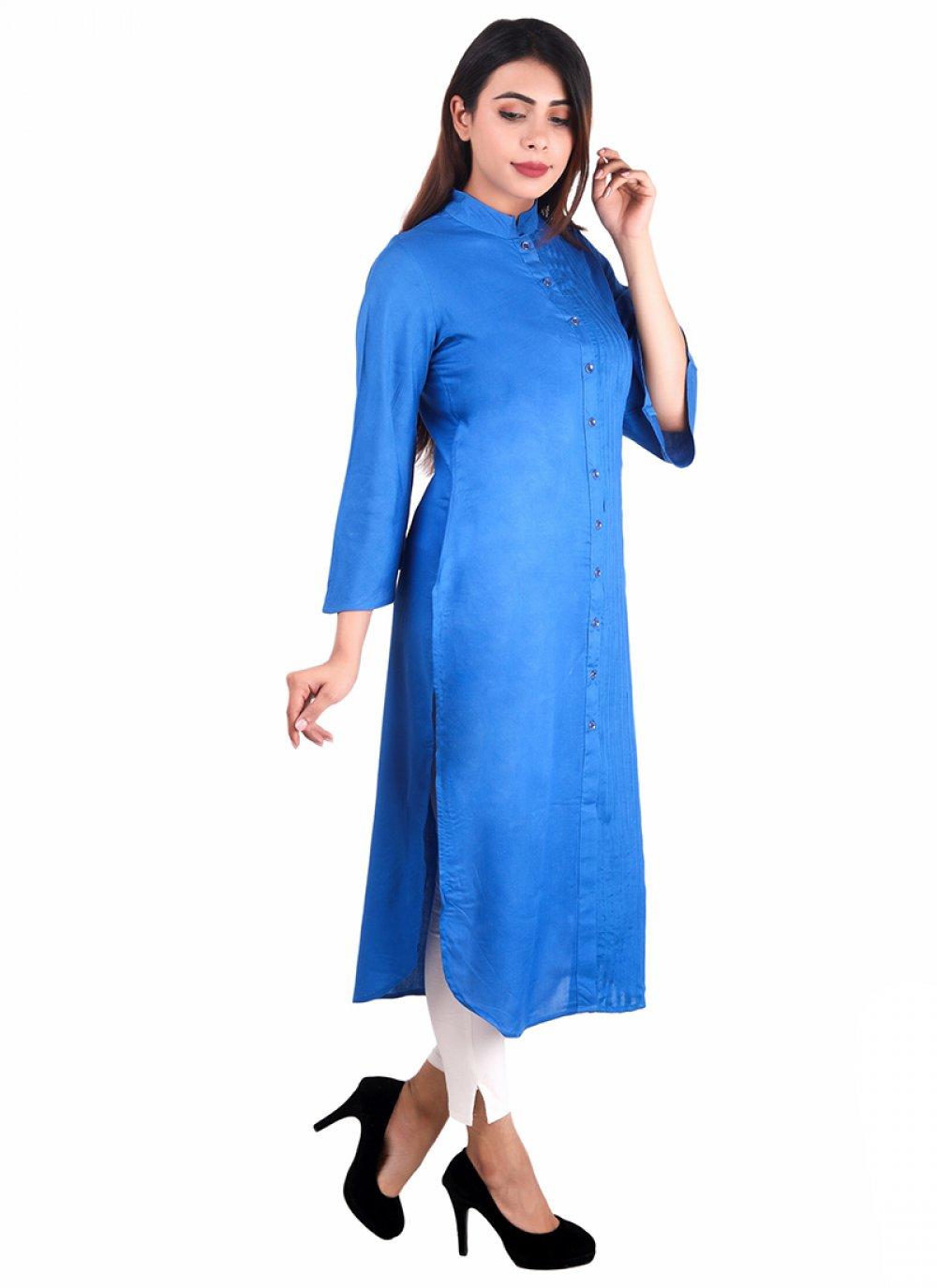 Blue Rayon Casual Kurti