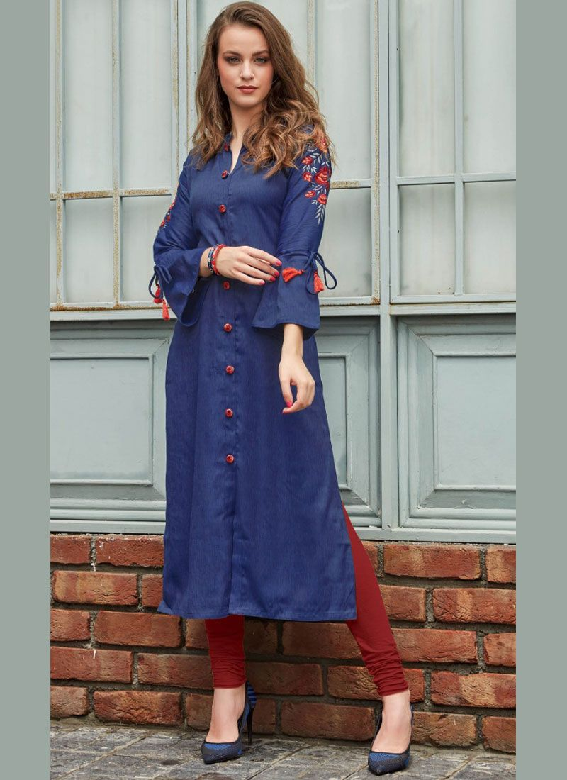 Blue Rayon Embroidered Party Wear Kurti