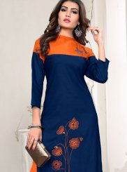 Blue Rayon Party Wear Kurti