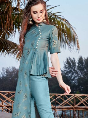 Blue Rayon Print Party Wear Kurti