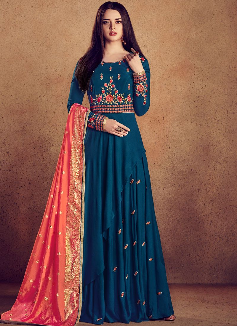 Blue Rayon Wedding Readymade Anarkali Suit