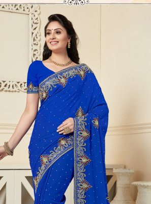 Blue Reception Georgette Designer Traditional Saree