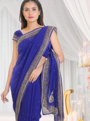 Blue Reception Georgette Traditional Saree