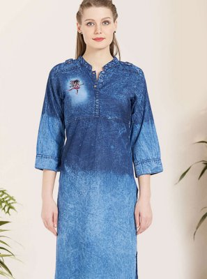 Blue Reception Party Wear Kurti