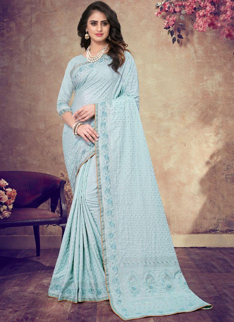Blue Resham Faux Georgette Classic Designer Saree