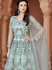 Blue Resham Floor Length Anarkali Suit