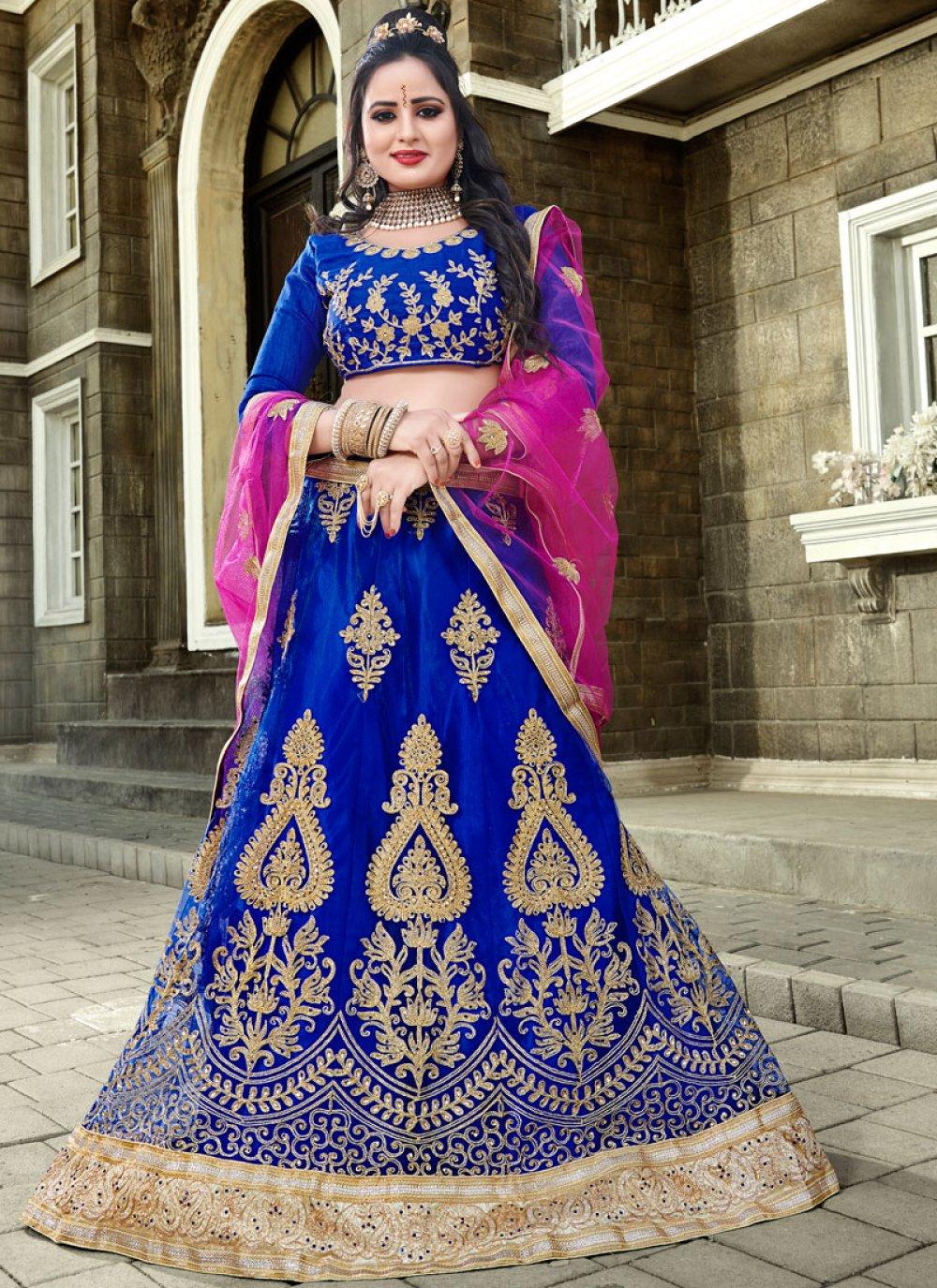 Blue Resham Mehndi Lehenga Choli