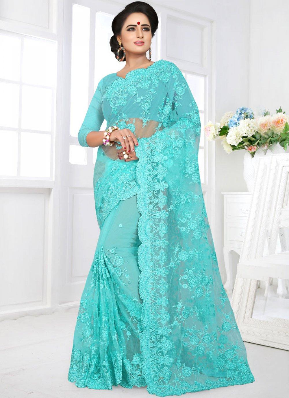 Blue Resham Net Classic Designer Saree