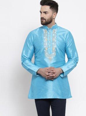 Blue Sangeet Art Dupion Silk Kurta