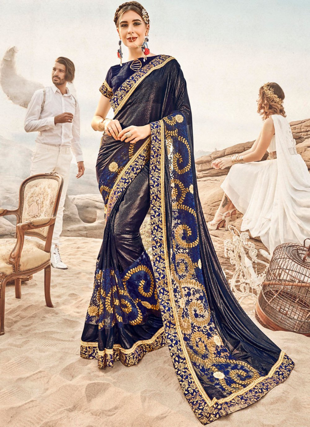 Blue Sangeet Designer Traditional Saree