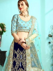 Blue Satin A Line Lehenga Choli